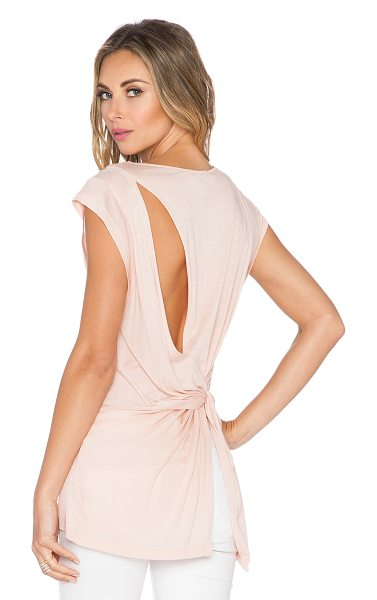 Halston Back drape top in blush - Cotton blend. Back cut-out with knot detail. Jersey knit...