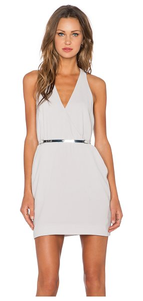 Halston Back panel v neck dress in taupe - Self: 60% triacetate 40% polyLining: 100% poly. Dry...