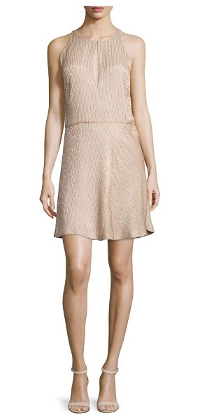"Halston Beaded Sleeveless Fit-&-Flare Dress in buff - Halston Heritage beaded knit dress. Approx. length: 32""L..."