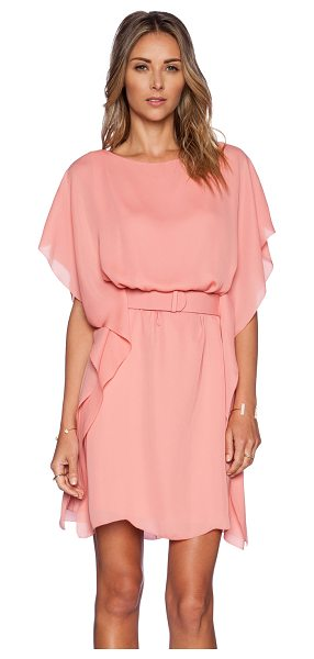 Halston Boat neck dress in pink - 100% poly. Dry clean only. Fully lined. Belted waist....