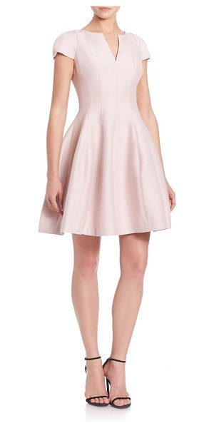 Halston cap-sleeve sateen dress in barelypink - Fit-&-flare design with demure sleeves and a balloon....