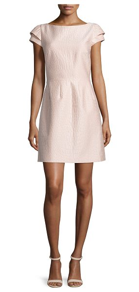 Halston Cap-sleeve scooped-back dress in blush/powder - Halston Heritage jacquard dress. Bateau neckline;...