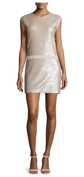 "Halston Cap Sleeve Sequined Mini Dress in buff/gold - Halston Heritage sequined mini dress. Approx. 32.5""L..."