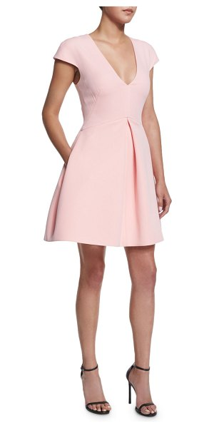"Halston Cap-sleeve v-neck structured dress in lotus - Halston Heritage structured dress. Approx. length: 26""L..."