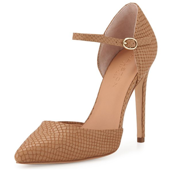 "HALSTON Christina Leather d'Orsay Pump in buff snake - Halston Heritage snake-embossed leather pump. 4.5""..."
