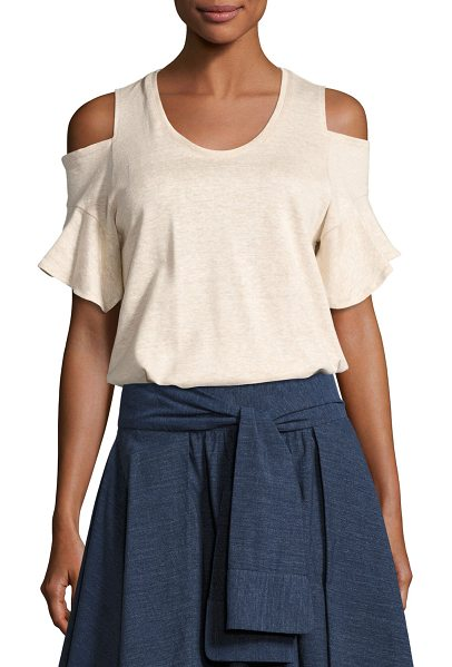 Halston Cold-Shoulder Crewneck T-Shirt in heather camel - Halston Heritage heathered T-shirt. Scoop neckline....