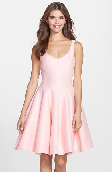 Halston cotton blend faille fit & flare dress in dusty pink - Dusty pink faille spun from a fine cotton-silk blend is...