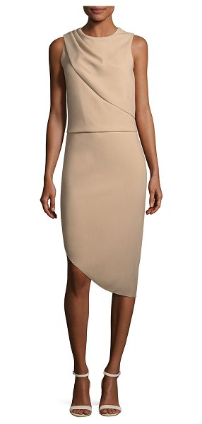 Halston Drape-Front Asymmetric-Hem Sheath Dress in camel - Halston Heritage dress with drape-front detail. Crew...