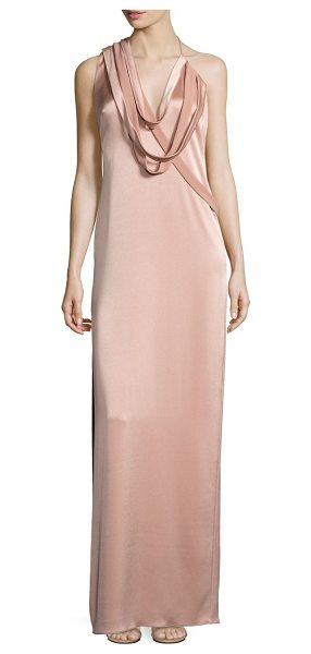 Halston draped slip gown in almond - Luminous slip gown with strappy draped detail. Halter...