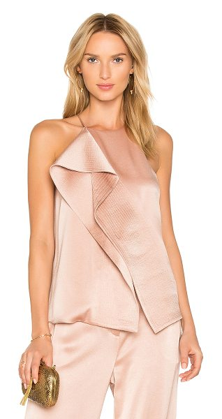 Halston Draped Top in beige - Self: 75% triacetate 25% polyLining: 100% poly. Dry...