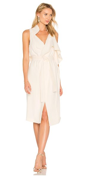 Halston Draped Wrap Dress in beige
