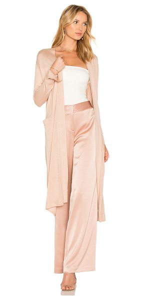 Halston Duster Cardigan With Sash in beige - Self: 85% silk 15% cashmere. Hand wash cold. Knit...