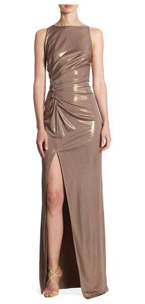 Halston ruched boatneck gown in antique gold