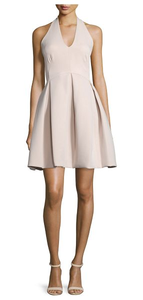 Halston Halter-Neck Pleated-Skirt Dress in buff - Halston Heritage jersey dress. Halter neckline....