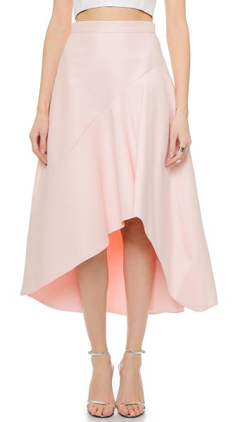 Halston High / low skirt in sorbet - An angled seam and high low hem bring dramatic asymmetry...
