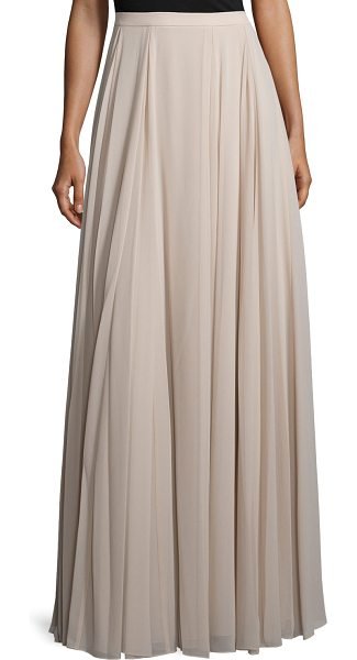 Halston High-Waist Flowy Maxi Skirt in buff - Halston Heritage woven skirt. Sits at the natural waist....