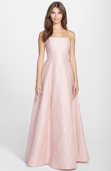 Halston jacquard strapless gown in blush powder - Exquisitely textured jacquard gives a rich, luxe weight...