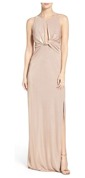 Halston knotted gown in metallic champagne - A sleek twist and plunging keyhole front add bold,...