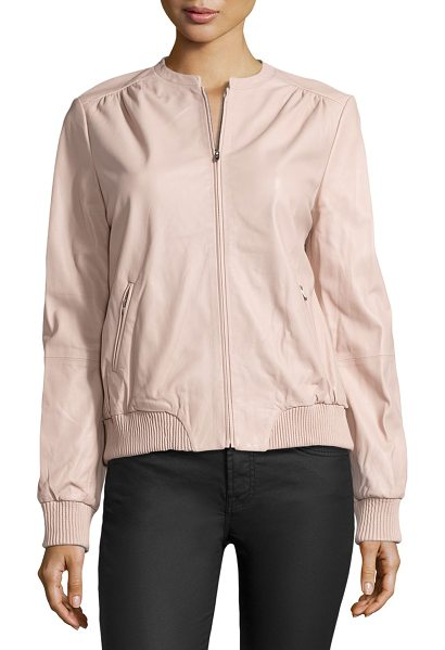 Halston Leather zip jacket in petal - Halston Heritage lamb leather jacket. Jewel neckline;...