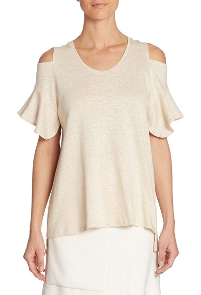 Halston cold-shoulder tee in heather camel - Heathered tee crafted from linen and cotton blend....