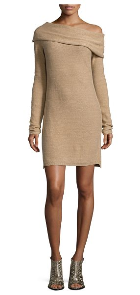 Halston Long-sleeve off-the-shoulder sweaterdress in camel/gold -  Halston Heritage cashmere sweaterdress. Approx....