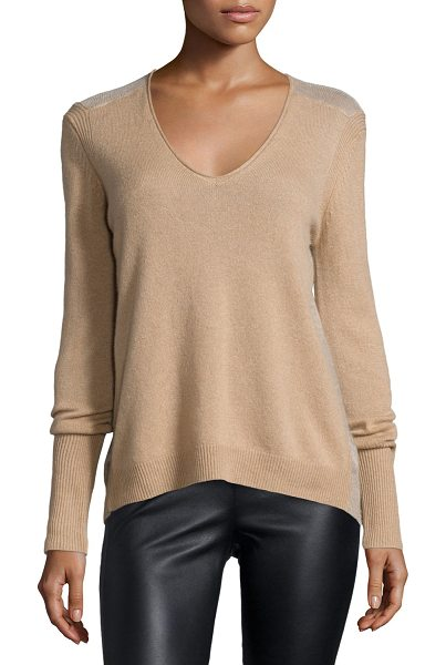 Halston Long-sleeve v-neck cashmere sweater in camel -  Halston Heritage cashmere sweater with sheer slub back...