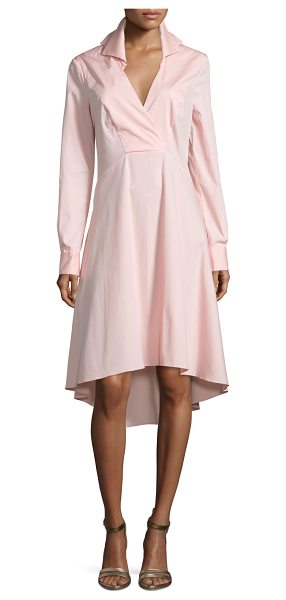 "HALSTON Long-Sleeve V-Neck Shirtdress - Halston Heritage poplin shirtdress. Approx. length: 30""L..."