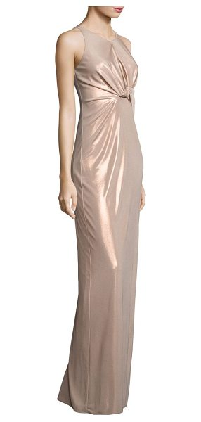 Halston metallic jersey cutout gown in metallicprimrose - EXCLUSIVELY AT SAKS FIFTH AVENUE. Knotted metallic...