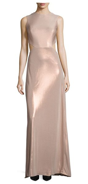 Halston metallic jersey twist back gown in metallic primrose - Gleaming metallic jersey gown with twisted back....