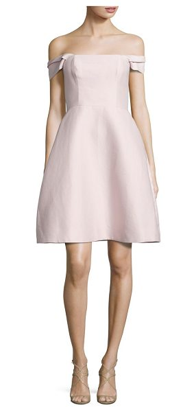 Halston off-the-shoulder faille dress in primrose - Shoulder-baring A-line dress in cotton and silk....