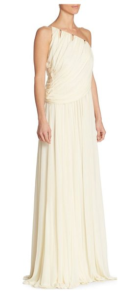 Halston one-shoulder gown in cream - Draped jersey gown with front cutouts. One-shoulder...