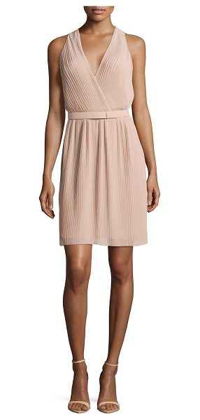 """Halston Pleated wrap dress with belt in nude - Halston Heritage pleated knee-length dress. Approx. 36""""L..."""