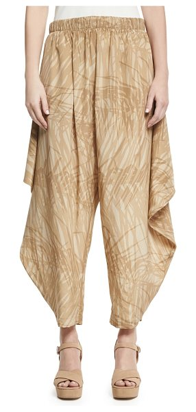 Halston Botanical-Print Flowy Ruched Pants in khaki botanical - Halston Heritage botanical-print ruched pants feature...