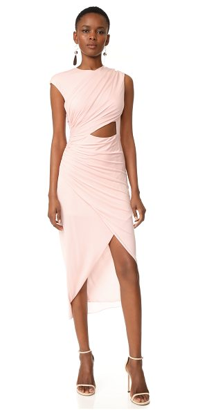 HALSTON round neck draped dress - A delicate Halston Heritage dress with asymmetrical,...
