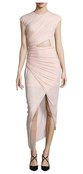 Halston ruched asymmetrical jersey dress in primrose - Curve-hugging ruched dress with front cutout. Crewneck....