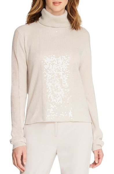 Halston sequin cashmere turtleneck in buff - A smattering of tonal sequins illuminates the front of a...
