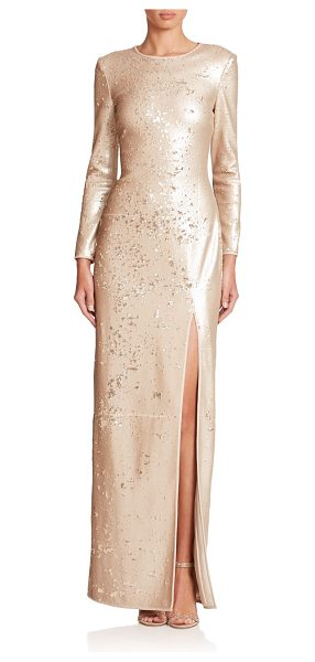 Halston Sequined high-slit gown in gold - A daring front slit defines this streamlined metallic...