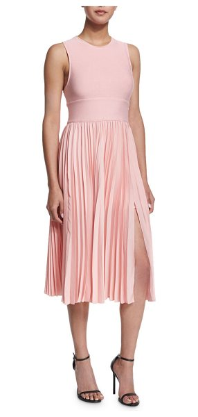 Halston Sleeveless Crisscross-Back Pleated Dress in lotus - Halston Heritage dress combines smooth-knit top and...