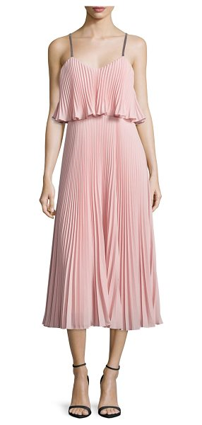 Halston Sleeveless Pleated Popover Midi Dress in blossom pink/blk - Halston Heritage pleated cocktail dress. V neckline....