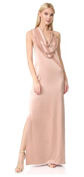 Halston sleeveless slip gown with draped strips in almond - NOTE: Runs true to size. Draped straps bring avant-garde...