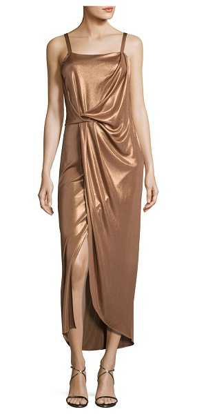 Halston Sleeveless Square-Neck Draped Jersey Dress in dark beige - Halston Heritage draped metallic jersey dress. Square...
