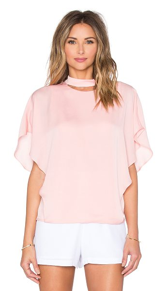 Halston Smock neck cut out top in pink - Silk blend. Side hidden zipper closure. Cut-out detail....