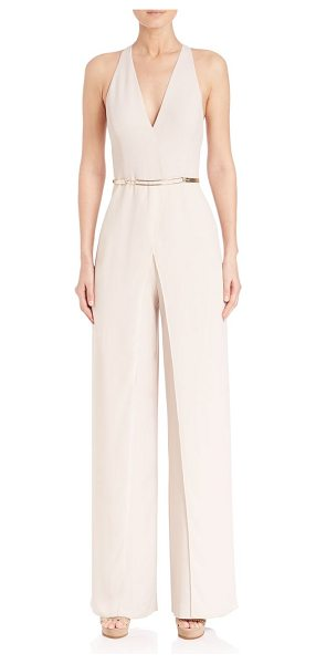 Halston split overlay halterneck jumpsuit in oyster - Stretch-crepe halter jumpsuit with overlay gown....