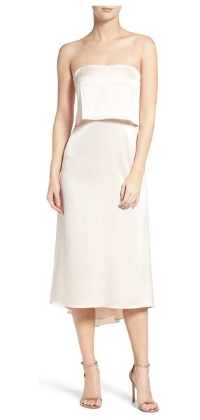Halston strapless dress in primrose - A strapless popover bodice and a high/low hem add...