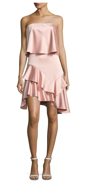 Halston Strapless Flounce Satin Cocktail Dress in blush - Halston Heritage satin cocktail dress with ruffled...