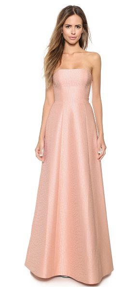 Halston Strapless jacquard gown in blush/powder - Fused materials create a unique, patterned effect on...