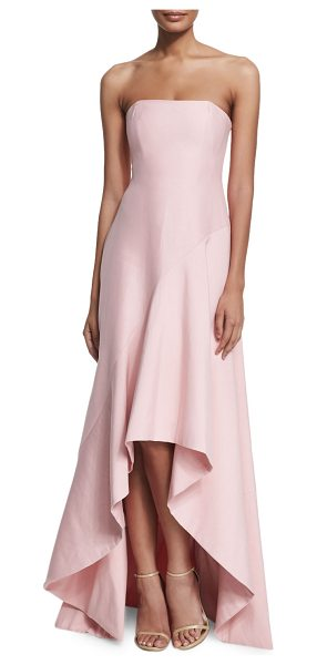 Halston Strapless Structured High-Low Gown in lotus - Halston Heritage woven gown. Approx. measurements (sizes...
