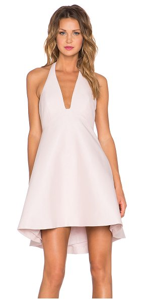 Halston Structured halter dress in blush - Self: 81% cotton 19% silkContrast: 97% poly 3%...