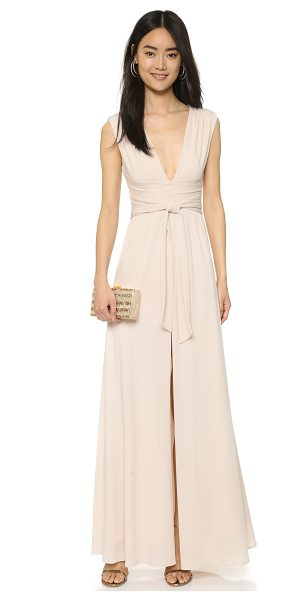 Halston v neck jersey gown with wrap tie in oyster - Crisscross panels and a tie sash nip the waist of this...