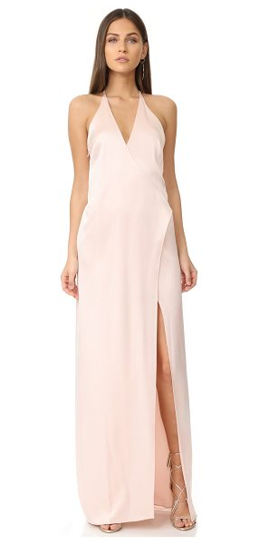Halston v neck slip gown with t back in primrose - Description NOTE: Runs large. Please see Size & Fit tab....